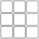 Vector set. Nine square ornamental frames. Black on a white Stock Photography