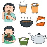 Vector set of noodle. Hand drawn cartoon, doodle illustration Royalty Free Stock Photography