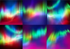 Vector set of northern lights backgrounds Stock Image