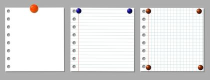 VECTOR set: notebook pages with holes on side and realistic pin buttons royalty free illustration