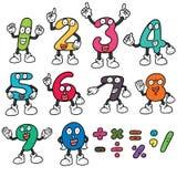 Vector set of number cartoon. Hand drawn cartoon, doodle illustration Stock Photos