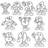Vector set of number cartoon. Hand drawn cartoon, doodle illustration Royalty Free Stock Photography