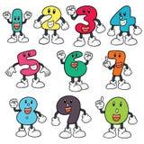 Vector set of number cartoon. Hand drawn cartoon, doodle illustration Royalty Free Stock Photo