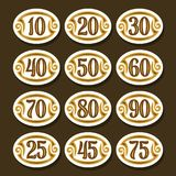 Vector set of Number icons. For anniversary, white stylish symbols for wedding, collection of oval isolated objects with calligraphy numbers, illustration of stock illustration