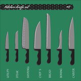 Vector set number one kitchen knives Royalty Free Stock Images