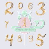 Vector set with number One, Mermaid tail, Sea Shell Crown. Topper or decoration for Mermaid style party, Baby Birthday, invitation, greeting card. Gold Numbers Stock Photos