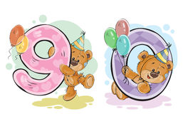 Vector set of numbers with a fun teddy bear Stock Images