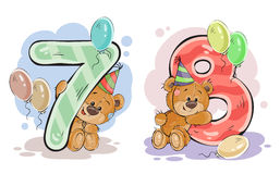 Vector set of numbers with a fun teddy bear royalty free illustration