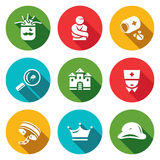 Vector Set of Nuthouse Icons. Diagnosis, Straitjacket, Treatment, Study, Building, Doctor, Bondage, Persistence, Split Stock Images