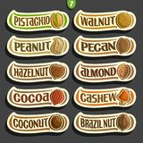 Vector Set of Nuts labels stock illustration