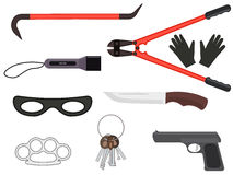 Vector set of objects elements of a thief tools Stock Photo