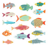 Vector Set of of Ocean and Sea Cartoon Fishes Royalty Free Stock Photos