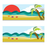 Vector set of ocean or sea horizontal banners. Hand drawn illustration. Vector set of sea horizontal banners. Hand drawn illustration. Sea or ocean by day and Stock Images