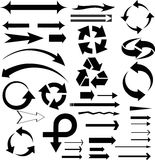 Vector set od different arrows and symbols. Vector illustration of black arrow icons Royalty Free Stock Photos