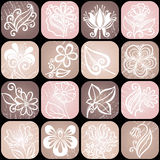 Vector Set od Floral Icons. Seamless Pattern Stock Images