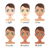 Vector Set Of 6 Women Faces With Skin Tone From Light To Dark Sk Stock Image