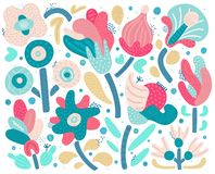 Free Vector Set Of Abstract Hand Drawn Flowers With Different Textures. Floral Composition. Freehand Style Royalty Free Stock Images - 163827129
