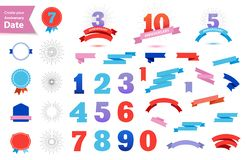 Free Vector Set Of Anniversary Dates. Create Your Own Anniversary Sign. Retro Ribbons, Bagges, Sun Burst, Numbers 1,2,3,4,5,6 Royalty Free Stock Photography - 147099937