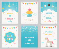 Vector Set Of Birthday And Sleepover Kids Party Invitations Stock Photography