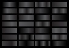 Free Vector Set Of Black And Grey Metallic Gradients, Swatches Collection, Shiny Gradient Set On Black Background Royalty Free Stock Image - 173147636
