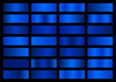 Free Vector Set Of Blue Metallic Gradients, Swatches Collection, Shiny Gradient Set On Black Background Stock Photo - 155447200