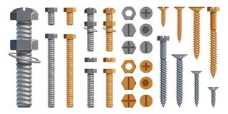 Free Vector Set Of Bolts, Nuts. Metal Screws, Steel Bolts, Nuts, Nails And Rivets, Self-tapping. Construction Steel Screw And Nut, Royalty Free Stock Photos - 171043778