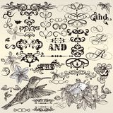 Vector Set Of Calligraphic Vintage Design Elements And Page Decorations Stock Image