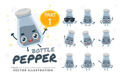 Free Vector Set Of Cartoon Images Of Pepper Bottle. Part 1 Royalty Free Stock Photos - 188013778