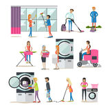 Vector Set Of Cleaning People Characters  On White Background.