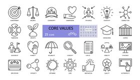 Free Vector Set Of Core Values Icons With Editable Stroke Stock Photography - 171217902