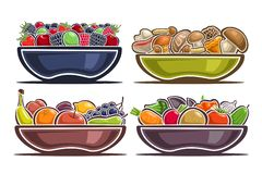 Free Vector Set Of Dishes With Fruits Stock Photography - 135469152