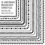 Vector Set Of Fifteen Hand Drawn Brushes Royalty Free Stock Image