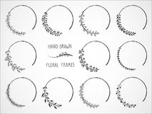 Free Vector Set Of Floral Hand Drawn Frames. Royalty Free Stock Photos - 120071248