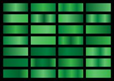 Free Vector Set Of Green Metallic Gradients, Swatches Collection, Shiny Gradient Set On Black Background Stock Photos - 155447233