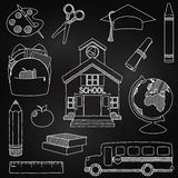 Vector Set Of Hand Drawn Chalkboard Doodle School Vectors Royalty Free Stock Photography