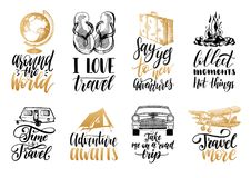 Free Vector Set Of Hand Lettering With Phrases About Traveling And Sketches Of Touristic Symbols. Royalty Free Stock Photos - 101484298