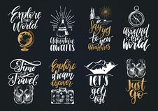 Free Vector Set Of Hand Lettering With Phrases About Traveling And Sketches Of Touristic Symbols. Stock Photography - 101484852
