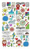 Vector Set Of Learning English Language, Children\ S Drawing Icons In Doodle Style. Painted, Colorful, Pictures On A Piece Of Pape Royalty Free Stock Photo