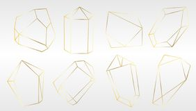 Free Vector Set Of Luxury Golden Crystal Shapes. Isolated Illustration Element. Isolated Illustration Element. Royalty Free Stock Image - 127140106