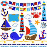 Vector Set Of Nautical And Sailing Themed Elements Stock Image