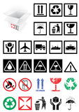Vector Set Of Packing Symbols And Labels. Royalty Free Stock Photos