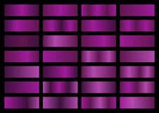 Free Vector Set Of Purple Metallic Gradients, Swatches Collection, Shiny Gradient Set On Black Background Royalty Free Stock Images - 174872949