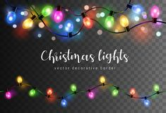 Free Vector Set Of Realistic Glowing Colorful Christmas Lights In Seamless Pattern Isolated On Dark Background Royalty Free Stock Photo - 158949095