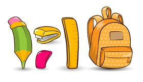 Free Vector Set Of School Equipment Icons In Hand Drawn Cartoon Style. Pencil, Eraser Rubber , Ruler, Stapler And Backpack Stock Image - 155925101