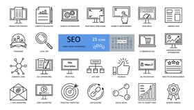 Free Vector Set Of SEO Optimization Icons With Editable Stroke. Strategy, Competitor Analysis, Responsive Web Design, Usability Stock Photography - 171217752