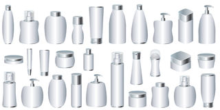 Free Vector Set Of Silver Cosmetic Packages Stock Images - 22972204