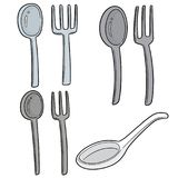 Vector Set Of Spoons And Forks Stock Photo