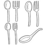 Vector Set Of Spoons And Forks Royalty Free Stock Image