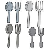 Vector Set Of Spoons And Forks Royalty Free Stock Photo