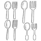 Vector Set Of Spoons And Forks Stock Image